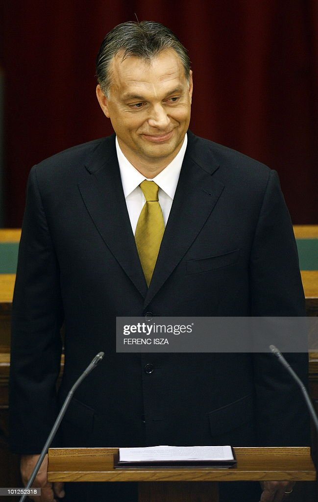 Hungarian Prime Minister Viktor Orban takes his oath in Parliament, in Budapest on May 29, 2010, during the innaguration ceremony of the FIDESZ goverment. The newly elected Prime Minister passed with 261 votes for and only 107 votes against.