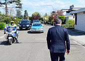 Hungarian Prime Minister Viktor Orban walks to his car after his press statement to his visit to the former German Chancellor Helmut Kohl at Kohl's...