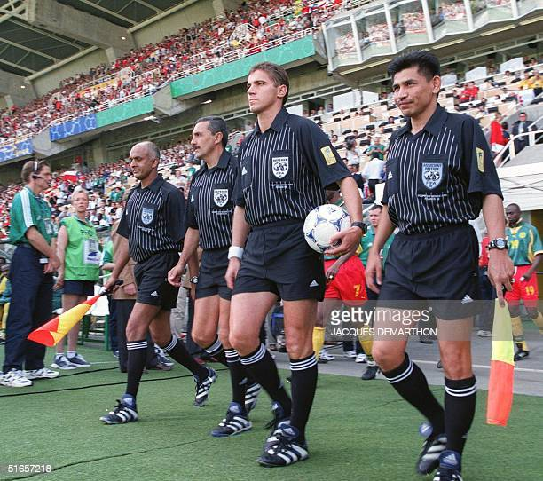 Hungarian referee Laszlo Vagner his assistants Muhamad S Wickeramatunge of Sri Lanka Halim Abdul Hamid of Malaysia and substitute referee Garcia...