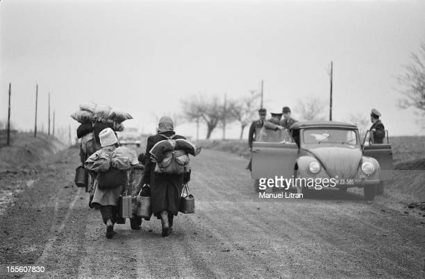 Hungarian refugees on the roads 22nd December 1956