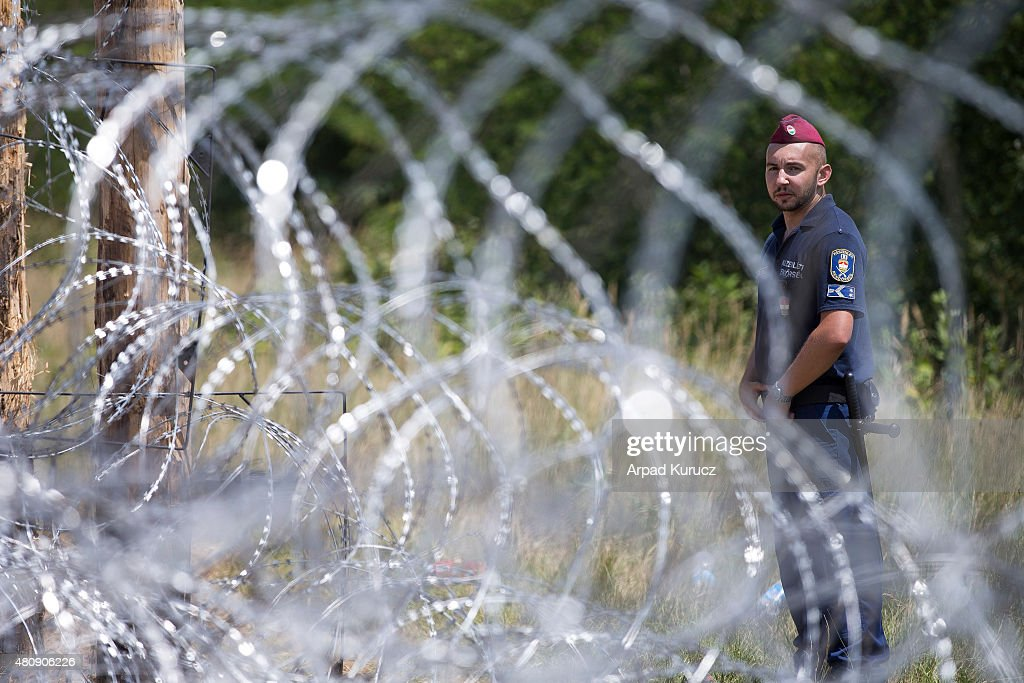Hungarian soldier stands next to the first portion of a temporary fence the Hungarian military is erecting on its border to Serbia in an effort to...