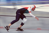 Hungarian speed skater Krisztina Egyed competes in the women's 1000m at MWave during the 1998 Winter Olympic games