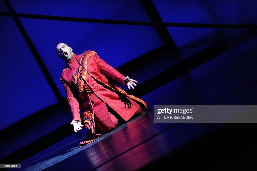 Hungarian State Opera singer Mihaly Kalmandi as the Dutchman performs on January 15, 2013 in Budapest during a rehearsal ahead of a premiere of 'The Flying Dutchman' of the German composer Richard Wagner, directed by Hungarian Janos Szikora.