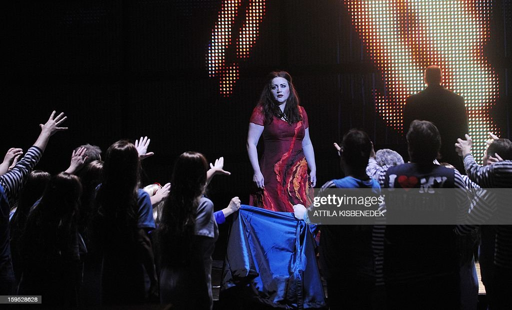 Hungarian State Opera soprano Szilvia Ralik as 'Senta' performs on January 15, 2013 in Budapest during a rehearsal ahead of a premiere of 'The Flying Dutchman' of the German composer Richard Wagner, directed by Hungarian Janos Szikora.
