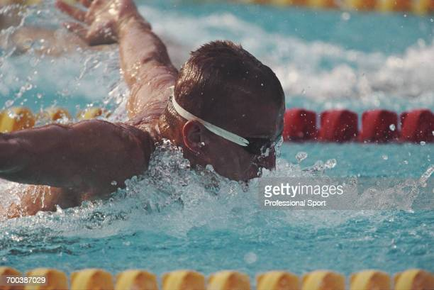 Hungarian swimmer Tamas Darnyi pictured in action competing to finish in first place to win the gold medal in the final of the Men's 400 metre...