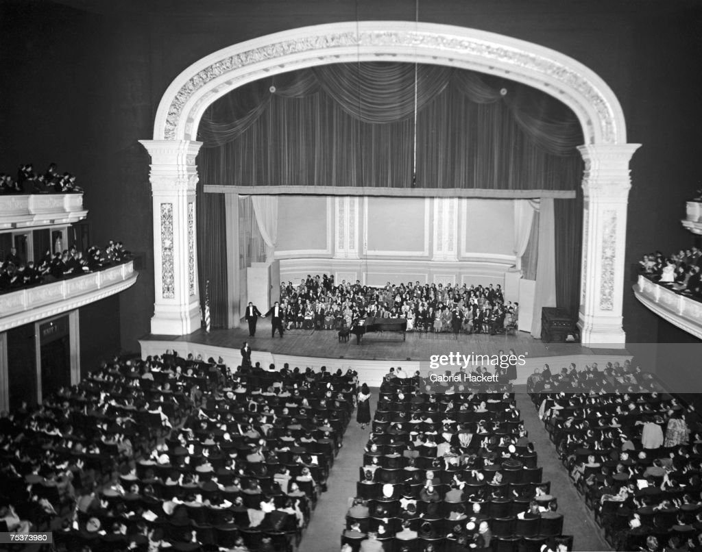 Hungarian tenor Miklos Gafni and his accompanist take a bow after a soldout concert at Carnegie Hall New York circa 1950