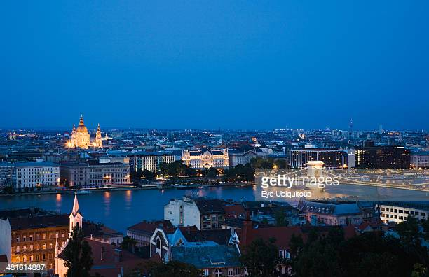 view over Danube and Pest with St Stephen's Basilica illuminated