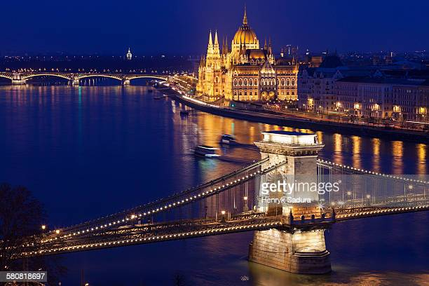 Hungary, Budapest, Chain Bridge and Hungarian Parliament