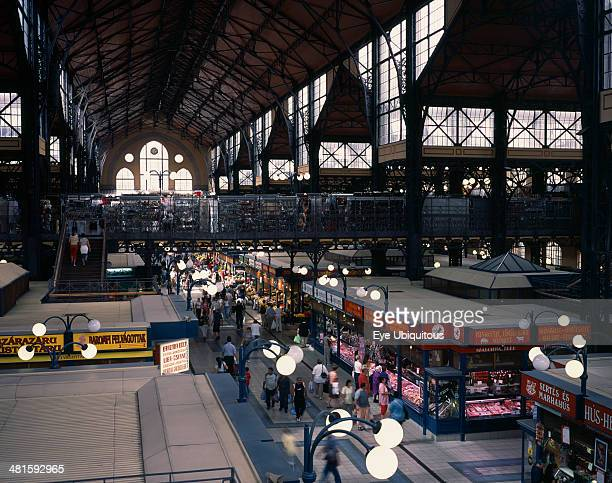 Hungary Budapest Great Market Hall interior with elevated view over stalls