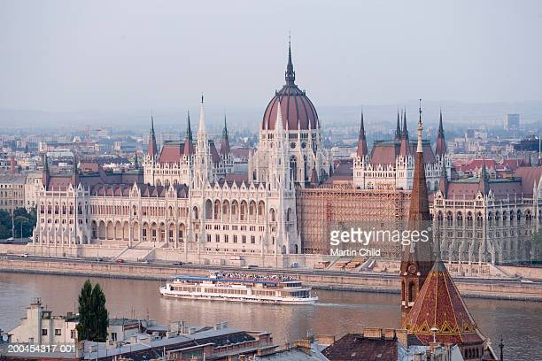Hungary, Budapest, Parliament Building by River Danube