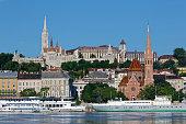 Hungary, Budapest, Pest, Matthias Church and Fishermans Bastion, Danube river