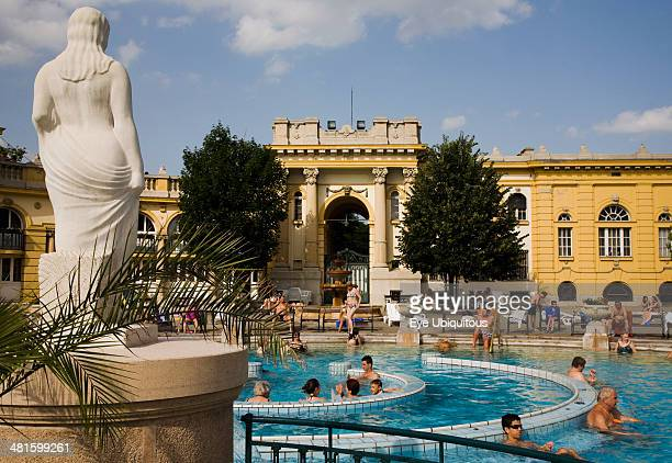 Hungary Budapest Pest Outdoor bathing in summer at Szechenyi thermal baths largest in Europe