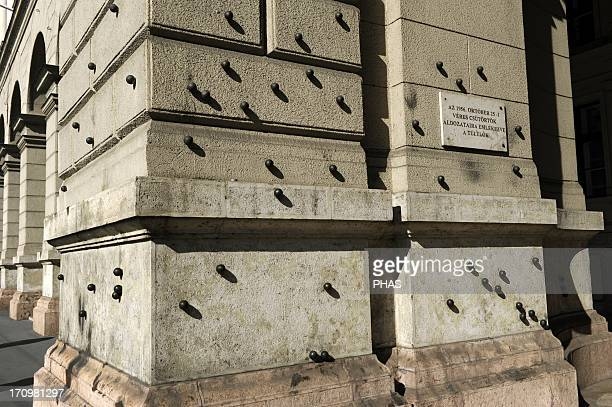 Hungary Budapest Steel balls on the facade of the Ethnographic Museum in memory of people killed by the Hungarian communist regime on October 25...
