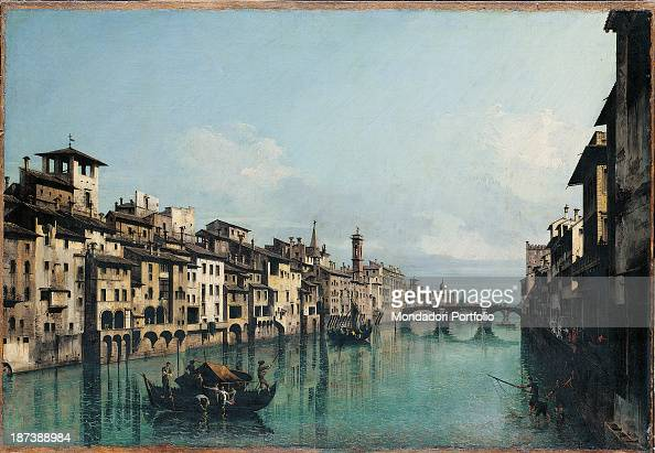Hungary Budapest Szépmuvészeti Múzeum All View of Florence and the Arno River lined with houses and palaces In the background one can recognise the...