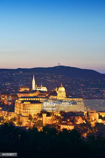 Hungary, Budapest, View to Buda Castle and Matthias Church, Blue hour
