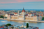 Hungary, Budapest, View to Pest with parliament building and Danube river