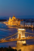 Hungary, Budapest, View to Pest with parliament building, Chain bridge and Danube river in the evening