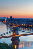 Hungary, Budapest, View to Pest with parliament building, Chain bridge and Danube river, afterglow