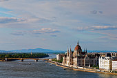 Hungary, Budapest, View to Pest with parliament building, Margaret Bridge and Danube river