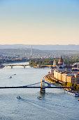 Hungary, Budapest, View to River Danube, Chain Bridge and Parliament Buildung, Margaret Bridge and Margaret Island
