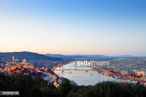 Hungary, Budapest, View to River Danube, Chain Bridge, Buda Castle and Parliament Building, Blue hour