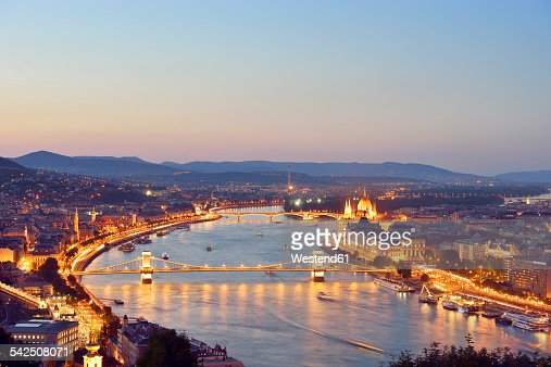 Hungary, Budapest, View to River Danube, Chain Bridge, Margaret Bridge and Parliament Building, Blue hour