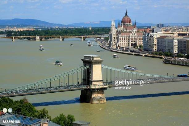 Hungary Central Hungary Budapest Danube Capital City panoramic view from Buda across the Chain Bridge to Pest behind the Margaret Bridge Margaret...
