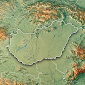 3D Render of a Topographic Map of Hungary. All source data is in the public domain. Color texture: Made with Natural Earth.  http://www.naturalearthdata.com/downloads/10m-raster-data/10m-cross-blend-h
