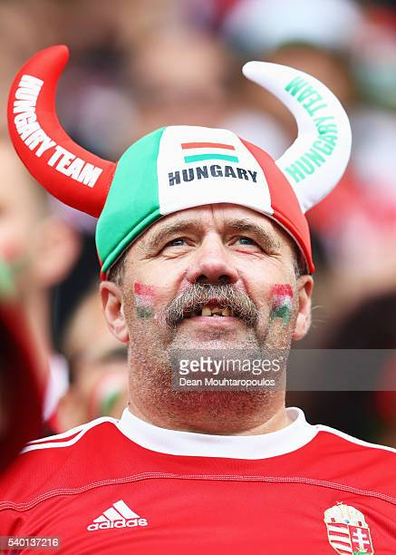 Hungary fan shows support prior to the UEFA EURO 2016 Group F match between Austria and Hungary at Stade Matmut Atlantique on June 14 2016 in...