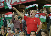 Hungary fans during the Euro 2016 Group F qualifying match between Northern Ireland and Hungary at Windsor Park on September 7 2015 in Belfast...