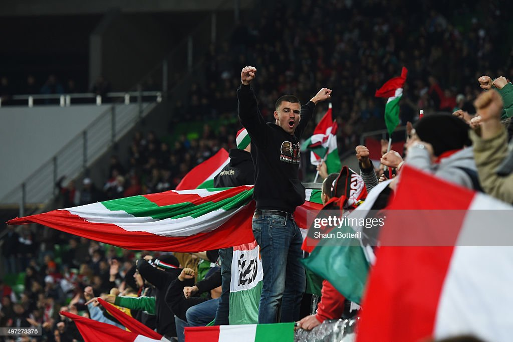 Hungary fans fans cheer on their team during the UEFA EURO 2016 Qualifier PlayOff second leg match between Hungary and Norway at Groupama Arena on...