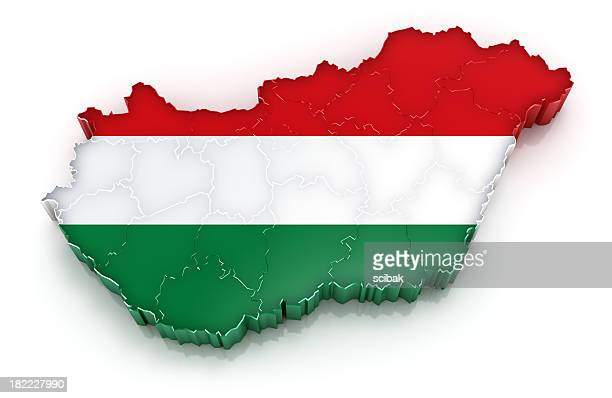 Hungary map with flag