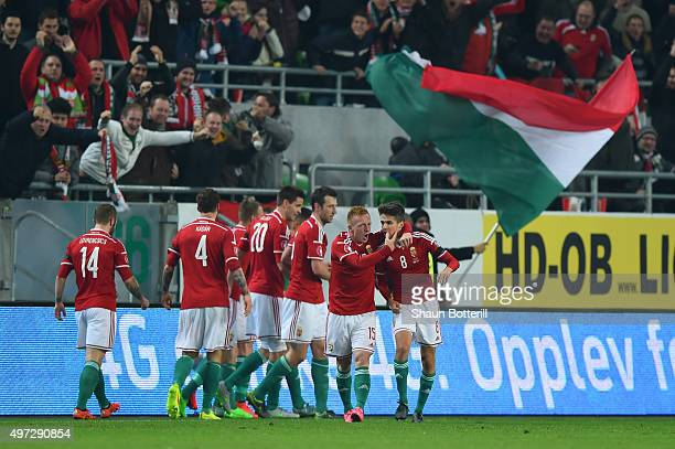 Hungary players celebrate after teammate Tamas Priskin of Hungary scores the opening goal during the UEFA EURO 2016 Qualifier PlayOff second leg...