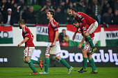 Hungary players celebrate after their second goal is scored via an own goal by Orjan Nyland of Norway during the UEFA EURO 2016 Qualifier PlayOff...