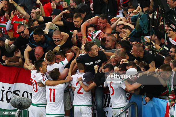 Hungary players celebrate their team's first goal with supporters during the UEFA EURO 2016 Group F match between Austria and Hungary at Stade Matmut...