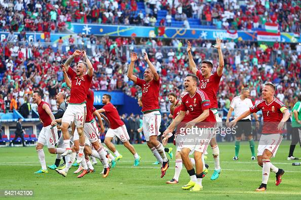 Hungary players celerbate winning the group F and going through to the knockout stage after their 33 draw in the UEFA EURO 2016 Group F match between...