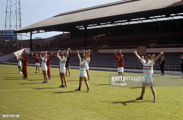 Hungary players during training at Sunderland FC's Roker Park