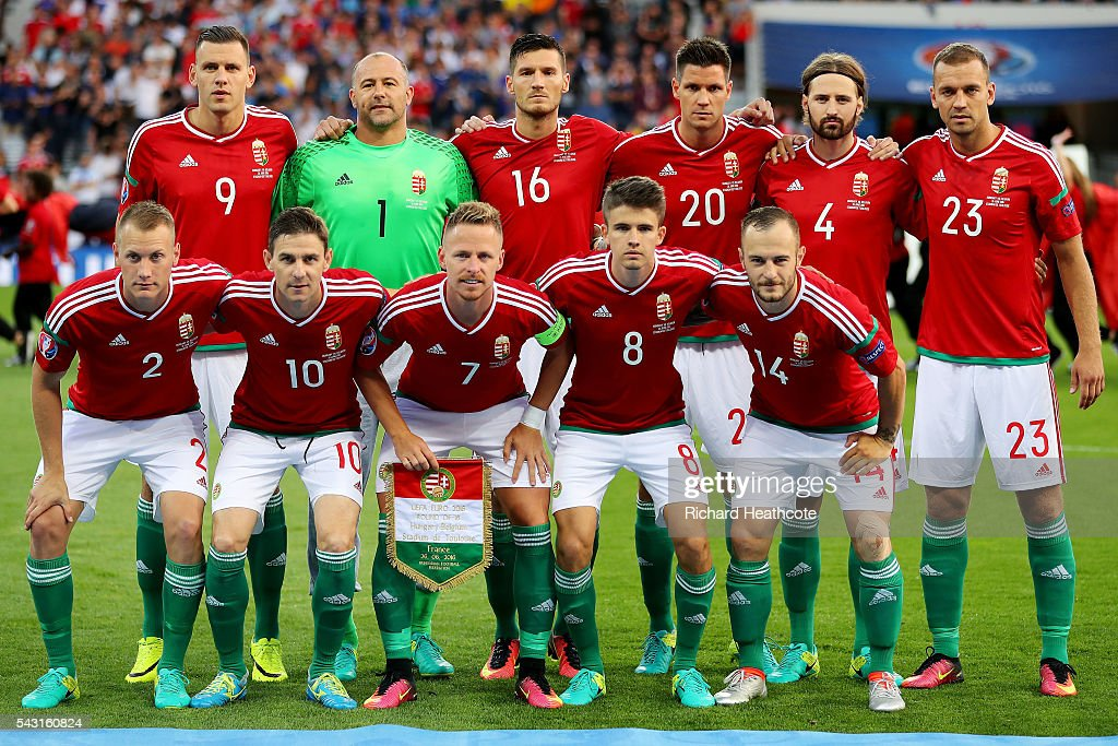 Hungary players line up for the team photos prior to the UEFA EURO 2016 round of 16 match bewtween Hungary and Belgium at Stadium Municipal on June 26, 2016 in Toulouse, France.