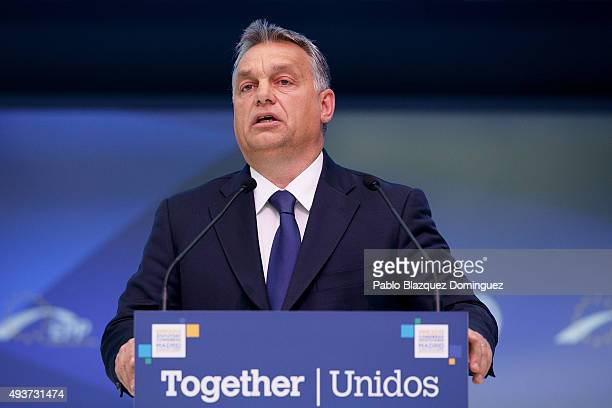 Hungary Prime Minister Viktor Orban speaks during a plenary session of the European People's Party Congress on October 22 2015 in Madrid Spain Madrid...