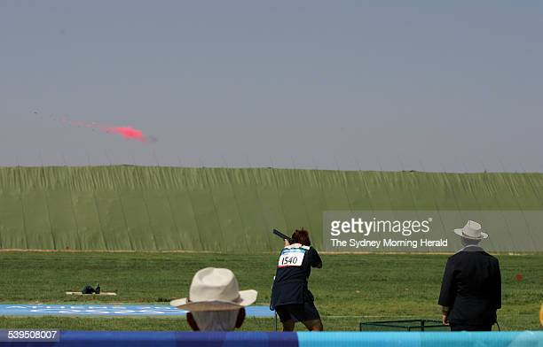 Hungary s Diana Igaly with her last shot to win the the skeet finals at the Athens Olympics on 19 August 2004 SMH OLYMPICS Picture by STEVE CHRISTO