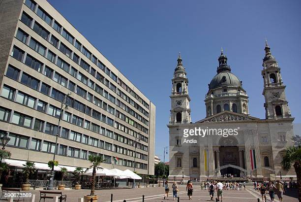 Hungary St Stephen's Basilica in Budapest neoRenaissance basilica located in the central district of Pest On its left looking onto the same square a...