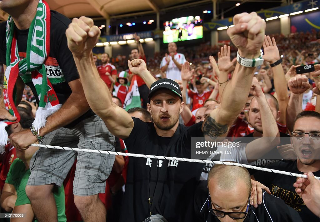 Hungary supporters cheer during the Euro 2016 round of 16 football match between Hungary and Belgium at the Stadium Municipal in Toulouse on June 26, 2016. / AFP / Rémy GABALDA