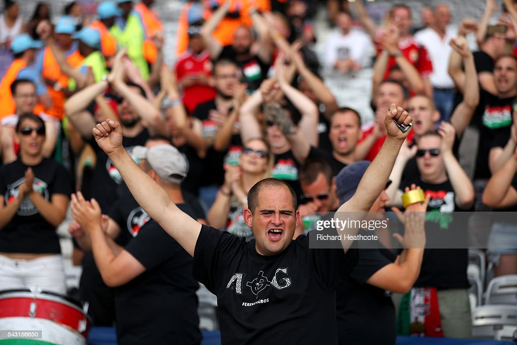 Hungary supporters enjoy the atmosphere prior the UEFA EURO 2016 round of 16 match bewtween Hungary and Belgium at Stadium Municipal on June 26, 2016 in Toulouse, France.