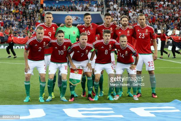 Hungary team group Hungary's Adam Szalai goalkeeper Gabor Kiraly Adam Pinter Richard Guzmics Tamas Kadar and Roland Juhasz Hungary's Adam Lang Zoltan...