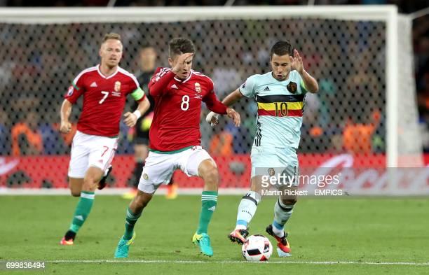 Hungary's Adam Nagy and Belgium's Eden Hazard battle for the ball