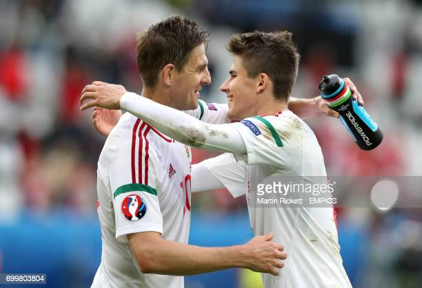 Hungary's Adam Nagy and Zoltan Gera celebrate victory after the match