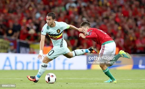 Hungary's Adam Nagy chases Belgium's Eden Hazard