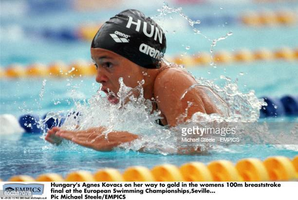 Hungary's Agnes Kovacs on her way to gold in the womens 100m breaststroke final at the European Swimming ChampionshipsSevilla