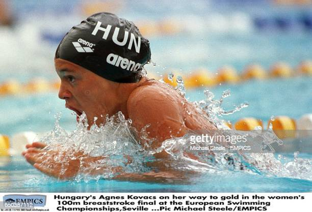Hungary's Agnes Kovacs on her way to gold in the women's 100m breaststroke final at the European Swimming ChampionshipsSevilla
