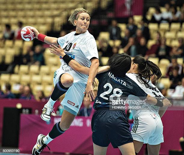 Hungary's Anita Bulath in action during the World Women's Handball Championship group A match between Hungary and Japan in Herning Denmark on...
